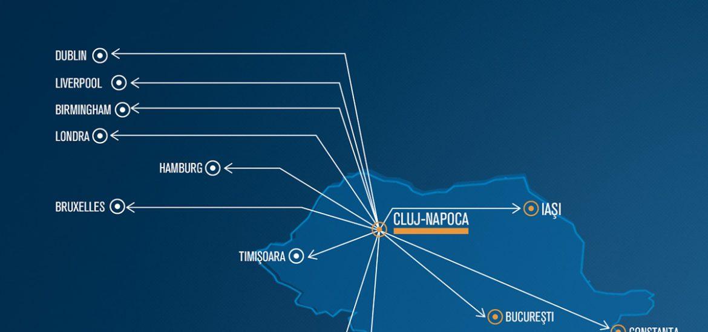 """In timp ce Aeroportul Oradea """"negociaza"""", de pe Aeroportul Cluj mai pleaca 4 rute europene cu Blue-Air"""