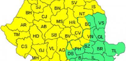 COD GALBEN de polei si precipitatii mixte, moderate cantitativ, in Oradea si judetul Bihor