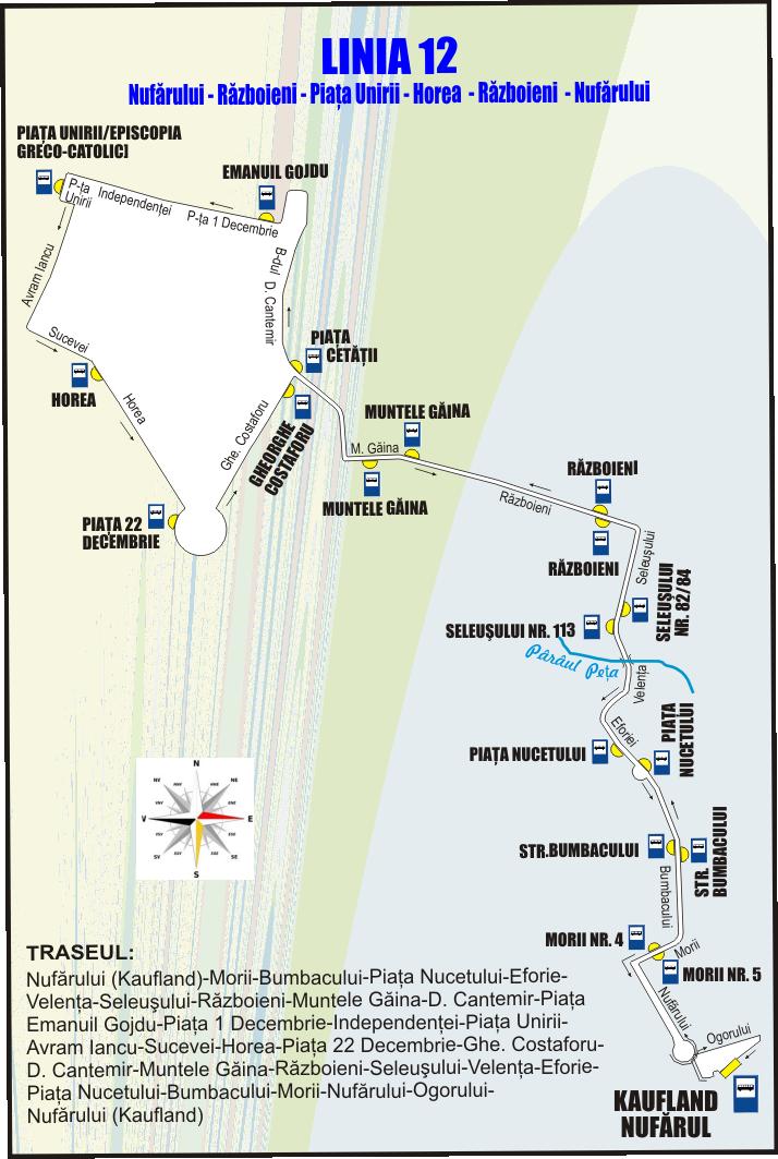 Schita traseu Linia 12 incepand din 1 Martie 2017