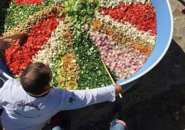 """O salata uriasa de 1 tona, pregatita in mii de porti, a fost oferita oradenilor, sambata, la evenimentul """"Primavata din gradina"""" din Cetatea Oradea"""