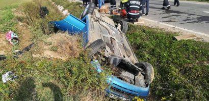 Accident grav langa Marghita, o tanara de 17 a ramas incarcerata in masina rasturnata in sant (FOTO)