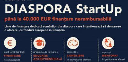 Pornesc înscrierile pentru Diaspora StartUp: 40.000 de euro pentru antreprenori români de peste hotare