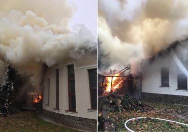 Incendiu la sediul Parcului Natural Apuseni din Sudrigiu. Flacarile au mistuit o magazie si 200 mp din acoperis