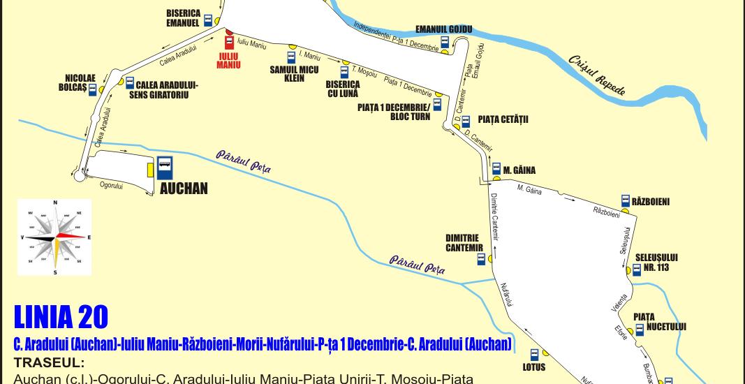 Schita traseu Linia 20 Oradea