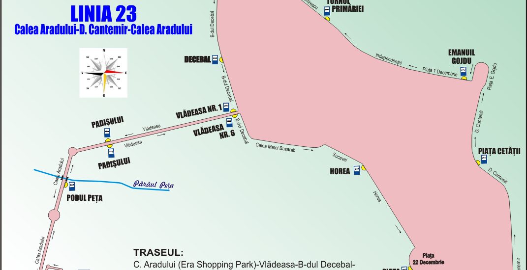 Schita traseu Linia 23 Oradea