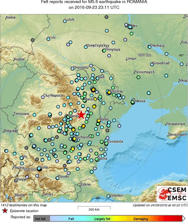 cum a fost resimtit cutremurul