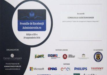 CJ Bihor a primit Premiul de Excelență în Administrație, pentru proiectul Sistemul de Management Integrat al Deșeurilor