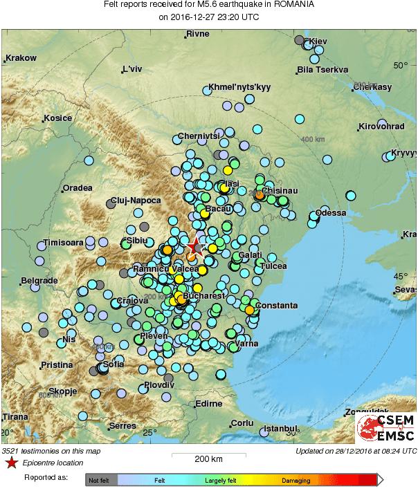 harta resimtirii cutremurului 28.12 Romania