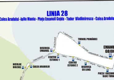 Traseul liniei de autobuz 28 se modifica incepand de maine, 16 ianuarie 2020. Vezi ruta si statiile