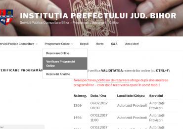De acum puteti verifica programarile efectuate la pasapoarte, inmatriculari, permise sau autorizatii
