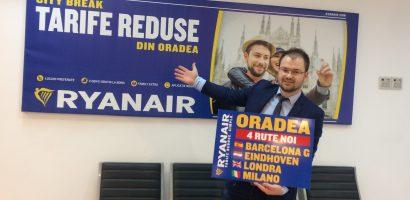 RyanAir anunta calendarul de iarna 2017 din Oradea, cu zboruri catre Barcelona, Eindhoven, Milano si Londra