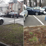 Accident frontal in apropeiere de Universitatea Oradea, 4 masini implicate. FOTO