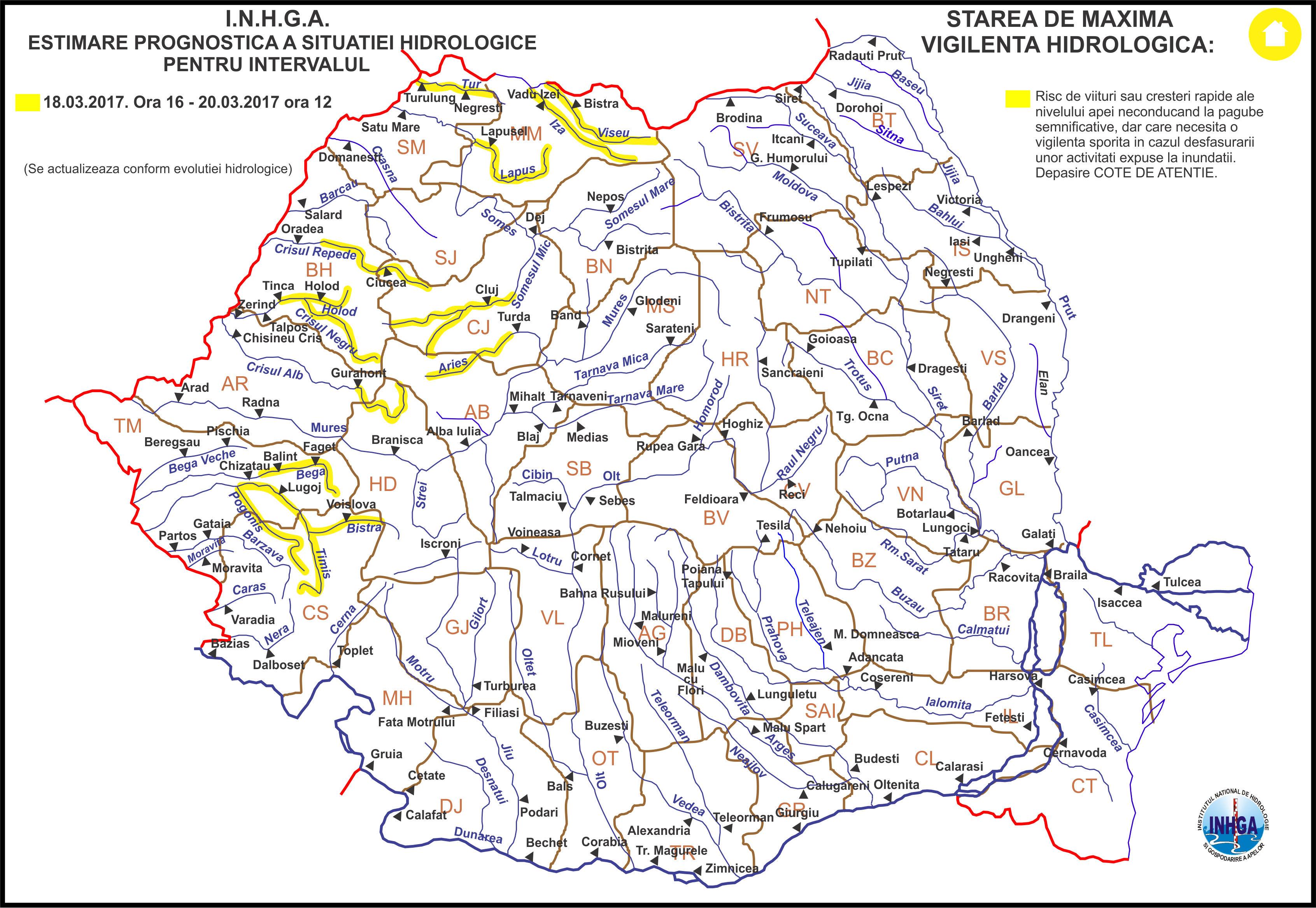 harta atentionare hidrologica nr.8 din 17.03.2017