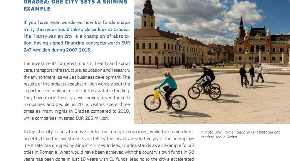 """Revista Comisiei Europene: Oradea, """"un campion al absorbţiei"""" si """"un exemplu stralucit"""""""