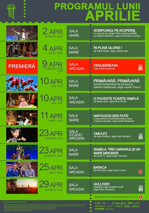 Program afiș aprilie 2017 Teatrul Regina Maria