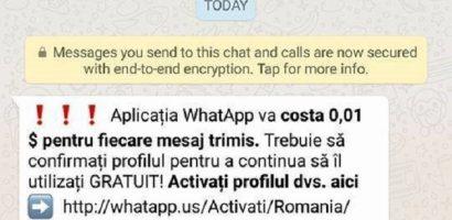 Utilizatorii serviciului de mesagerie WhatsApp, atenționați asupra unei campanii de phishing