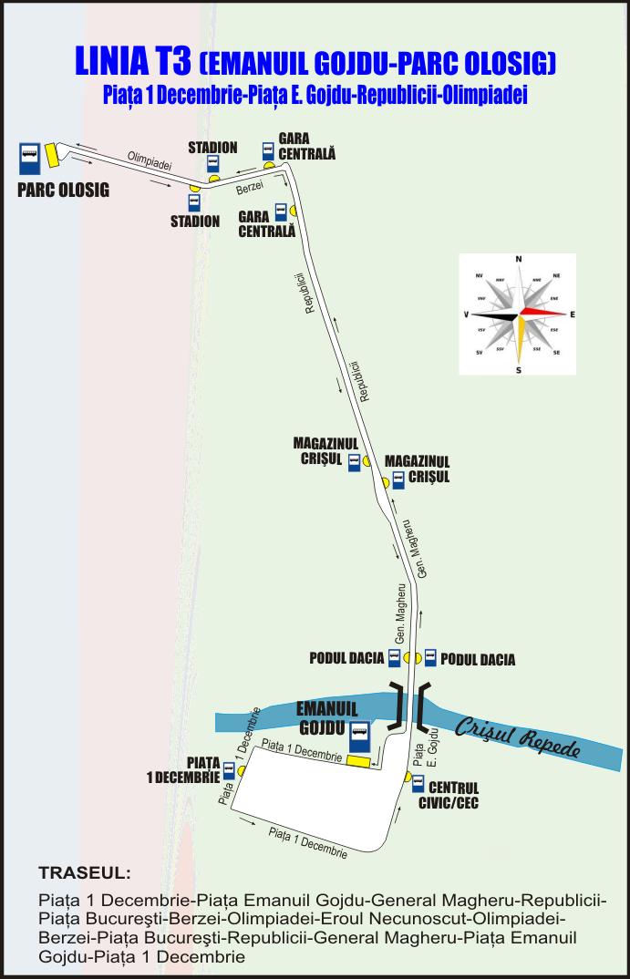 Schita traseu Linia T3 Oradea