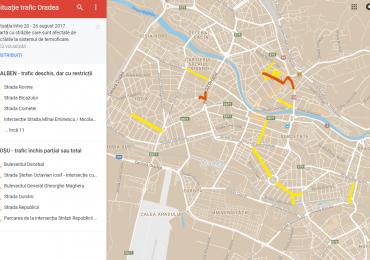 Harta online cu strazile unde se fac lucrari si sunt restrictii de circulatie in Oradea