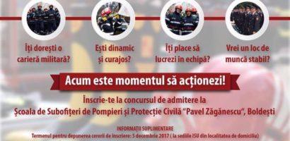 Alătură-te echipajelor de pompieri militari! Sesiune de admitere la scolile de agenti si subofiteri
