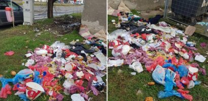 Politia locala a verificat situatia creata de gunoiul imprastiat la KFC Decebal si reclamat online