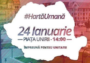 "Oradenii sunt asteptati maine in Piata Unirii pentru a forma o ""Harta Umana"" a Romaniei"