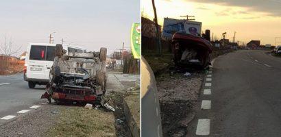 Accident grav in Beius. Un sofer nu a adaptat viteza, s-a rasturnat si a ajuns la spital