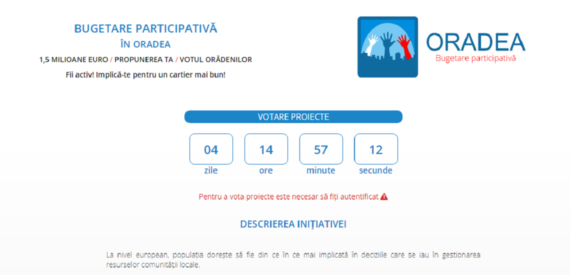 Mai putin de 5 zile in care puteti vota proiectele din concursul de bugetare participativa. Vezi top 10