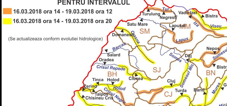 Atentionare COD PORTOCALIU de inundatii in zona Stei-Beius, in Bazinul Crisului Negru