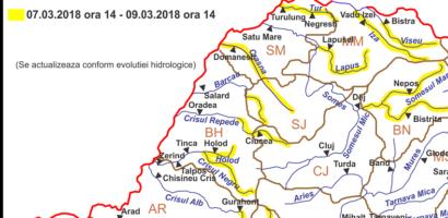 Avertizare COD GALBEN de inundatii pentru judetul Bihor