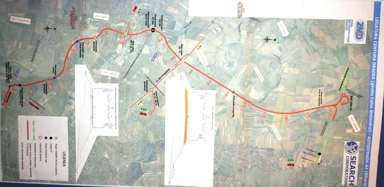 Harta sosea legatura Oradea - Autostrada Transilvania