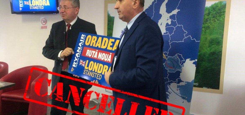 Adio Londra! Incepand cu 31 mai RyanAir suspenda toate zborurile de pe Aeroportul Oradea