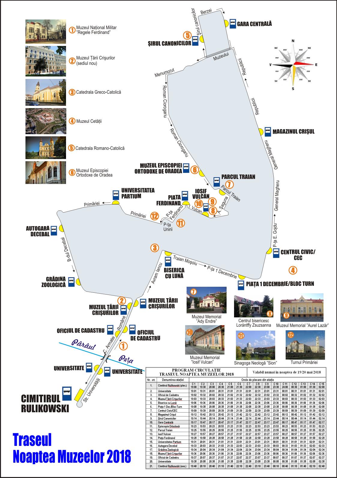 Traseu autobuze oradea Noaptea muzeelor 2018 cu program de circulatie