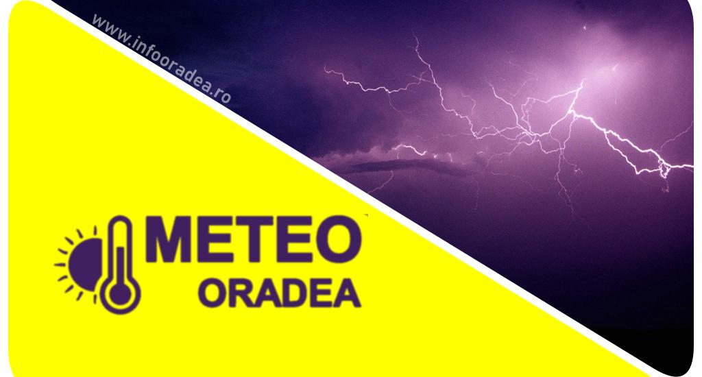 COD GALBEN de vreme severa pentru Oradea si mai multe localitati din judetul Bihor. Grindina si descarcari electrice