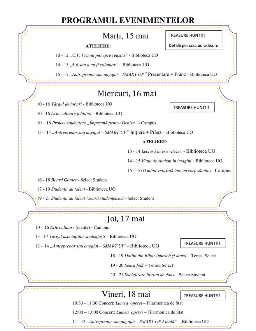 program Săptămâna Carierei Universitatea Oradea