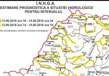 COD GALBEN de inundatii in judetul Bihor, pana vineri la ora 16:00
