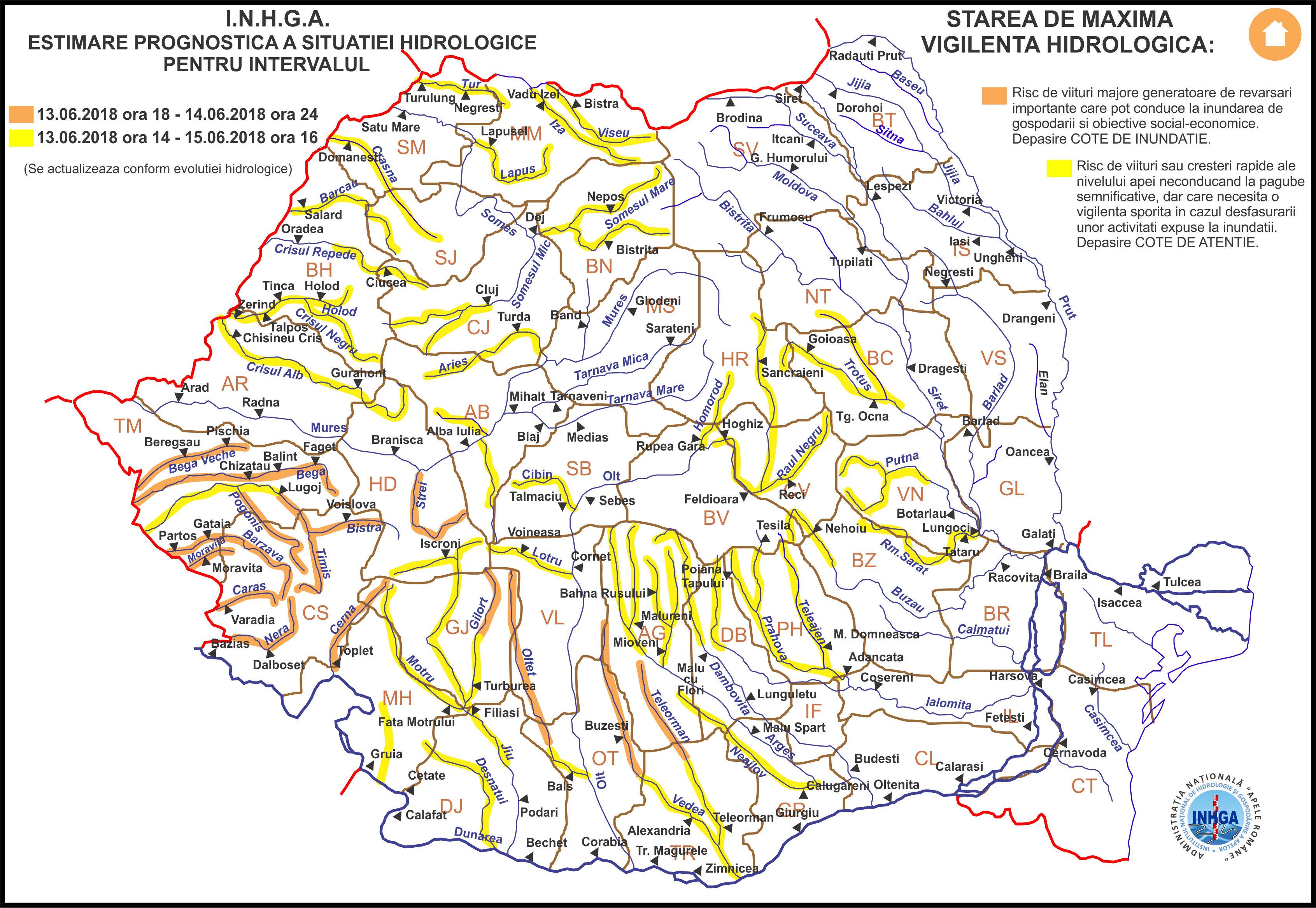Harta Avertizare Hidrologica nr. 31 din 13.06.2018