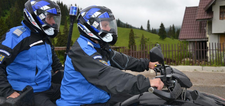 Jandarmii montani bihoreni au amendat doi soferi pentru ca se plimbau cu masina pe pajistile alpine