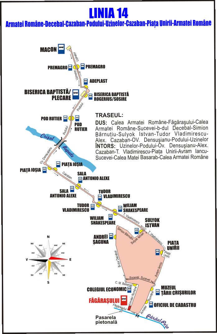 14 Schita traseu Linia 14 Fagarasului dus pe Decebal din 30 iul 2018