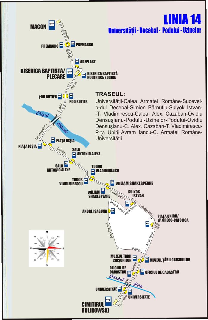 Schita traseu Linia 14 pe Decebal din 16 iulie 2018