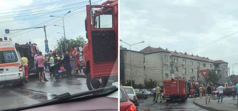 Fata de 12 ani din Salard, cu gamba sectionata, in urma accidentului de pe Clujului, a fost transportata cu elicopterul la Timisoara