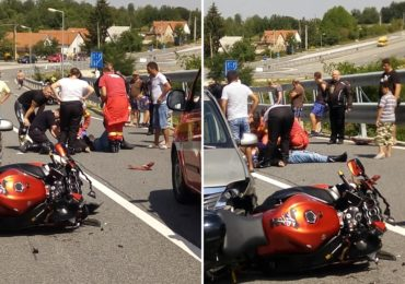 Accident grav in localitatea Sinteu, un motociclist a intrat frontal, pe contrasens, intr-o masina