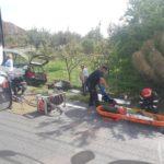 Accident grav in Topa de Cris, dupa ce un conducator auto a pierdut controlul si a izbit frontal un stalp de beton