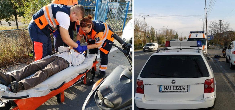 Moped lovit pe Borsului de un sofer care a fugit de la locului accidentului si prins rapid de politisti