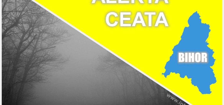 COD GALBEN de ceata densa pentru Oradea si zona de campie a judetului Bihor. Vizibilitate sub 50 m