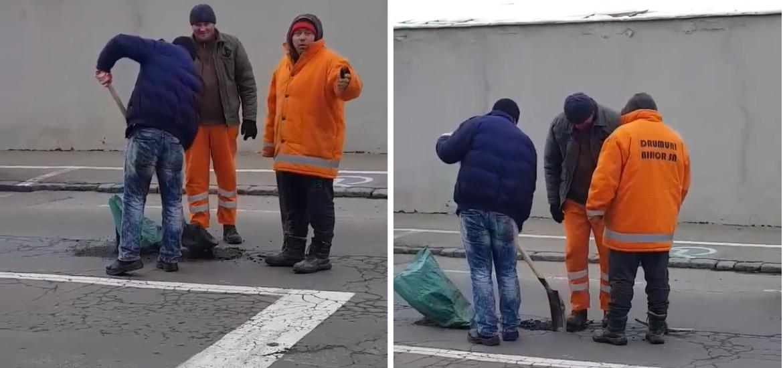 Asfaltare cu lopata si piciorul in Oradea. Trei angajati de la Drumuri Bihor surprinsi si filmati de un turist (VIDEO)
