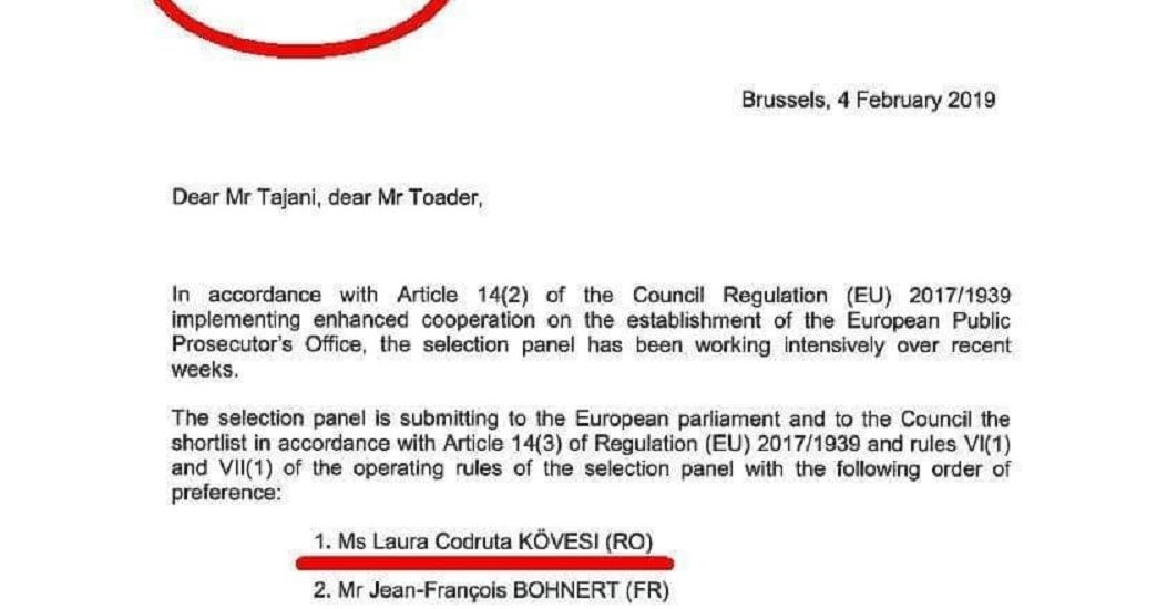 Document: Laura Codruta Kovesi favorita la functia de Procuror-Sef al Parchetului European
