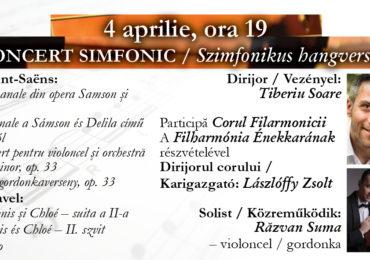 Concert simfonic, joi 4 aprile 2019, la Filarmonica Oradea