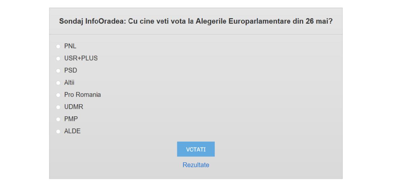 Sondaj InfoOradea: Cu cine veti vota la Alegerile Europarlamentare din 26 mai?