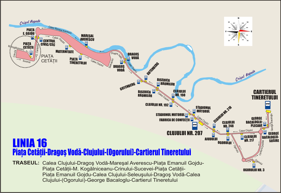 Schita traseu Linia 16 la Piata Cetatii pe Crinului mai 2019