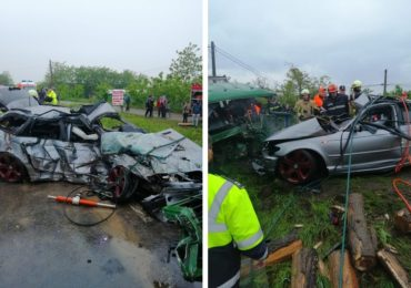 Accident mortal pe DN1 la Tileagd, in aceasta seara. Tanarul care a provocat accidentul a murit, iar 2 adulti si doi minori in stare grava